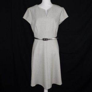 Connected Apparel Tan White A line Dress Size 12